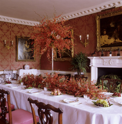 Recreation of 'Ellen Terry Stand' flower arrangement in the Dining Room at Polesden Lacey