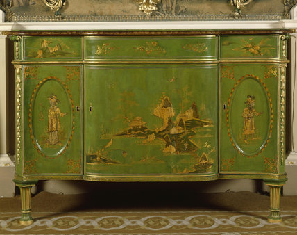 Detail of green and gold chinoiserie lacquered commode by Thomas Chippendale in the State Bedroom at Nostell Priory