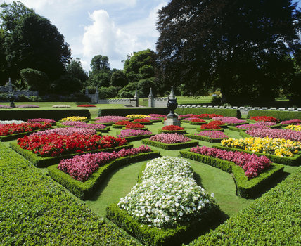 The flower beds to the south of the house at Lanhydrock