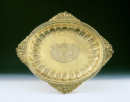 Silver Gilt Dish from Ickworth bearing a coat of arms