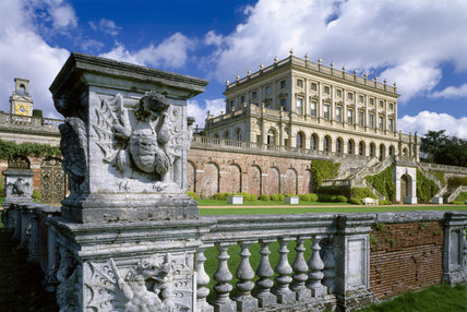 View of the garden front of the house at Cliveden, looking across the balustrade