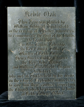 The Engraved Plaque recording the planting of the Keble Oak by William Gibbs at Tyntesfield in 1872