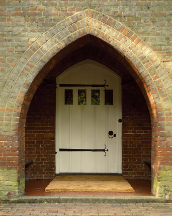 Detail of the entrance doorway of Red House, home of William Morris and his wife Jane from 1860 until 1864