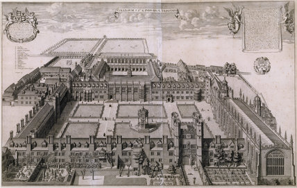 Engraving of Trinity College, Cambridge, 1690 by David Loggan (1633/5-1692) in the Study at Woolsthorpe Manor