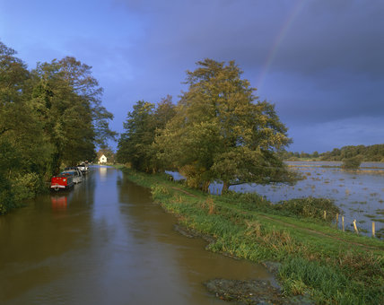 A flooded view of Triggs Lock at The River Wey Navigation, Surrey