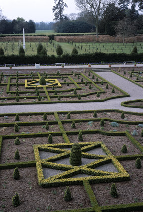 A view over the Parterre at Hanbury Hall, towards the Bowling Green, in spring 2003