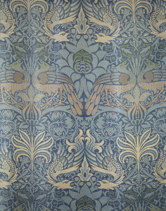 Close view of window seat cover - William Morris 'Peacock and Dragon' woven woollen fabric, in the Entrance Hall at Wightwick Manor