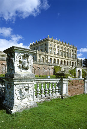 View of the south front of the house at Cliveden, looking across the balustrade