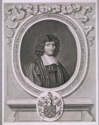 Engraved print of Isaac Barrow, who resigned the Lucasian Chair of Mathematics at Cambridge 1669 in favour of 26 year-old Newton having recognised his talents, in the Study at Woolsthorpe Manor