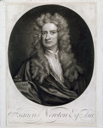 SIR ISAAC NEWTON, an engraved mezzo-tint portrait, (1642-1727), after Sir Godfrey Kneller, by I. Smith, 1712, in the Entrance Hall of Woolsthorpe Manor