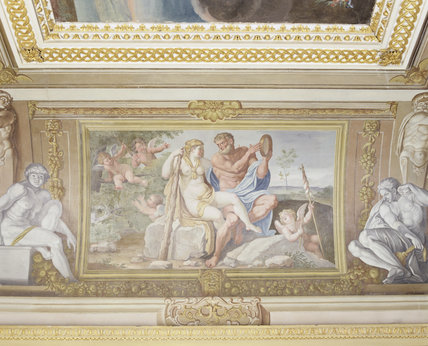 View of a ceiling fresco depicting Hercules & Omphale, painted by Guiseppe Mattia Borgnis (1701-61) from a painting in the Palazzo Farnese in Rome in the Ionic Temple at Rievaulx Terrace