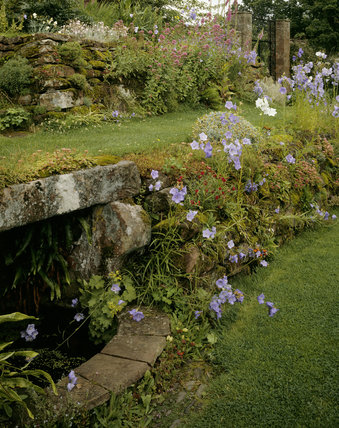 The well garden at Acorn Bank showing summer flowers and terraced grass