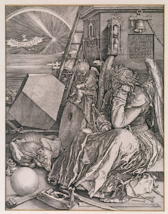 MELANCHOLIA, woodcut after Durer, in the Study at Woolsthorpe Manor