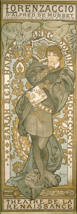 Poster of Sarah Bernhardt advertising the play LORENZACCIO by L'Alfred du Musset