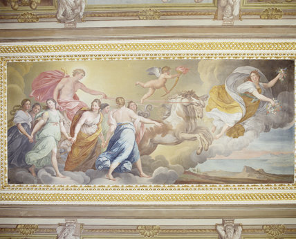 The central ceiling fresco in the Ionic Temple at Rievaulx, of Aurora, Apollo & the Muses by Guiseppe Mattia Borgnis (1701-61) based on Guido Reni's mural in the Palazzo Rospigliosi in Rome