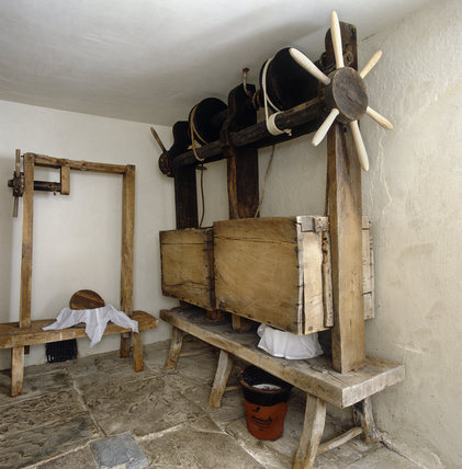 Interior of the Cheese Press Room at Llanerchaeron