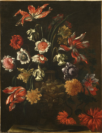 A VASE OF FLOWERS after Monnoyer, at Nymans