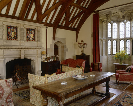 The Drawing Room (Solar) at Great Chalfield Manor, near Melksham, Wiltshire showing the semicircular oriel window
