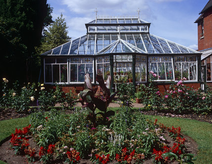 Conservatory and rose garden at the late Victorian gentleman's villa in Shropshire