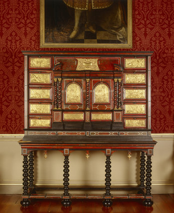 Mid-C17th ebony Antwerp cabinet, inlaid with ivory and red tortoiseshell, in the Saloon at Oxburgh Hall, fifteenth-century moated manor house, King's Lynn, Norfolk
