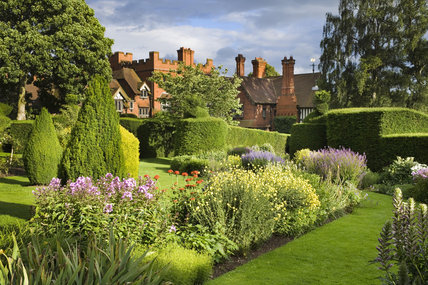 Topiary hedging and beds in the Formal Garden at Wightwick Manor, Wolverhampton, West Midlands