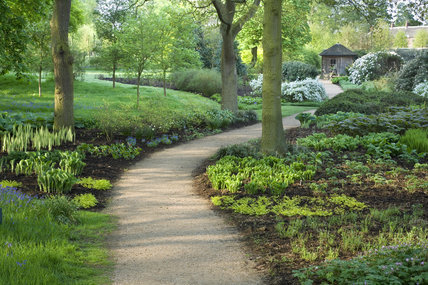 Path winding through the garden at Dunham Massey, Cheshire