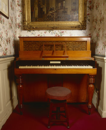 Jane Carlyle's piano in the Parlour at Carlyle's House, 24 Cheyne Row, London, the home of writer Thomas Carlyle and his wife from 1834 to 1881