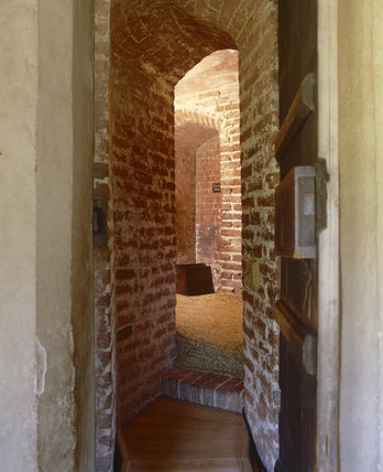 View into the Priest's Hole at Oxburgh Hall, fifteenth-century moated manor house, King's Lynn, Norfolk