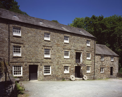 The restored working watermill at Cotehele, near Saltash, Cornwall