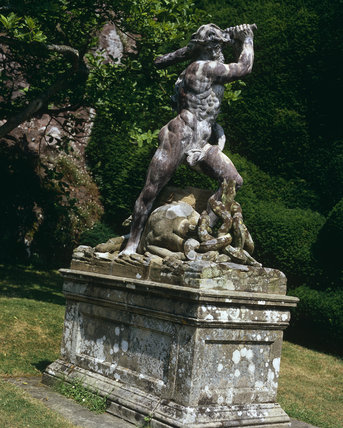 Statue on the Top Terrace of Hercules slaying Hydra at Powis Castle, Welshpool, Powys