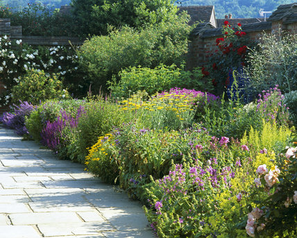 The flower border below the nursery beds in the garden at Chartwell, Kent, the family home of Sir Winston Churchill from 1922 until 1965