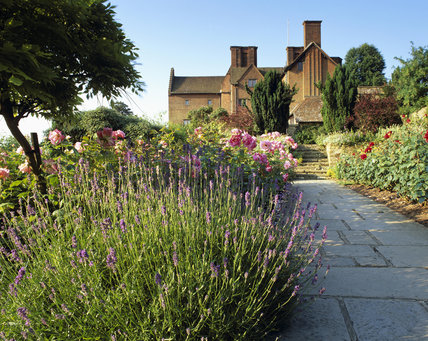The walled rose garden at Chartwell, Kent, the family home of Sir Winston Churchill from 1922 until 1965, with lavender and Rosa