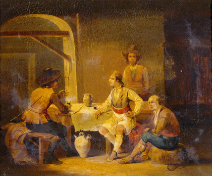 A TAVERN SCENE IN SPAIN by Richard Bouguet
