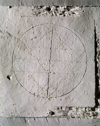 Graffiti drawing in the Bedchamber at Woolsthorpe Manor, of a geometrical design of squares and triangles in a circle, possibly by Isaac Newton