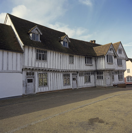 View of the late c15th timber-framed Tudor building, originally the hall of the Guild of Corpus Christi which overlooks the market place