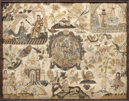 Stumpwork Embroidery in the Tapestry Room at Treasurer's House, York 17th century