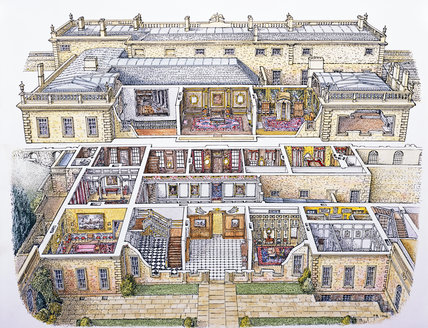 Cut-away perspective drawing of Dyrham Park by Peter Brears, 1998