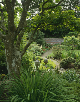A view, taken in June, of the walled garden with its mixed borders, at Rowallane Garden, County Down, Northern Ireland