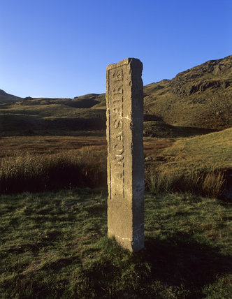 The Three Shires or Lancashire Stone, the monument marking the meeting point of the old counties of Cumberland, Lancashire and Westmorland on Wrynose Pass