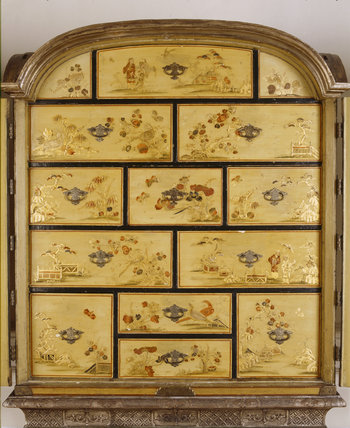 Close view of Queen Anne cream japanned cabinet in Lady Bearstead's Bedroom at Upton House