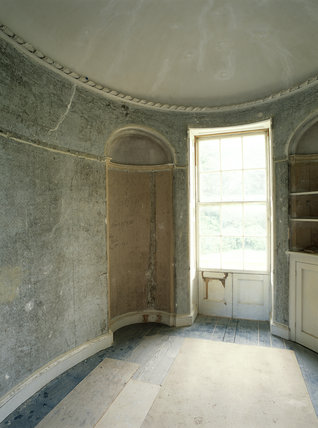 View of boudoir during restoration at Llanerchaeron, a Nash house designed in the 1790's