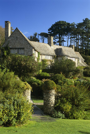 The exterior of Coleton Fishacre designed in 1925 for the D'Oyly Carte family the house reflects the arts and crafts tradition and is located in South Devon