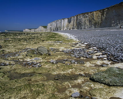 The Seven Sisters along side the Birling Gap, with a boulder strewn shore in the foreground