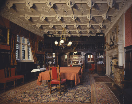 The decorative Dining Room at Gawthorpe Hall showing panelled screen c. 1604