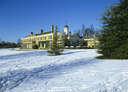 View from the south-west of Polesden Lacey across the snowy ground
