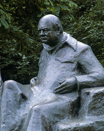 Section of the statue of Sir Winston and Lady Churchill at Chartwell, showing Sir Winston part
