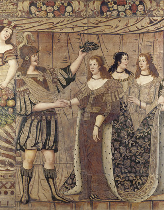 The gilt leather hangings in The Gallery at Dunster Castle depict the story of Antony and Cleopatra; here Antony receives Cleopatra who wears a great ermine trimmed robe in rich brocade