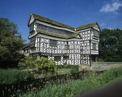The south west frontage of Little Moreton Hall in Cheshire