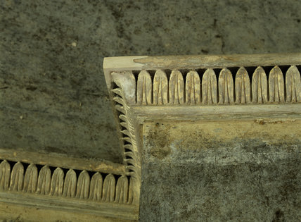 Close-up of part of plaster cornice repair during restoration at Llanerchaeron, a Nash house designed in the 1790's
