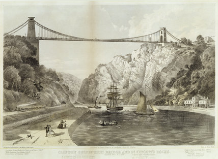 CLIFTON SUSPENSION BRIDGE & ST. VINCENT'S ROCKS Print photographed by Newman & Co. produced by Engineers, on staircase at Clevedon Court.